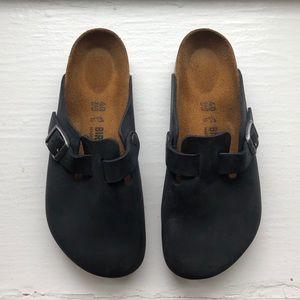 New Birkenstock Black Oiled Leather Boston Size 9